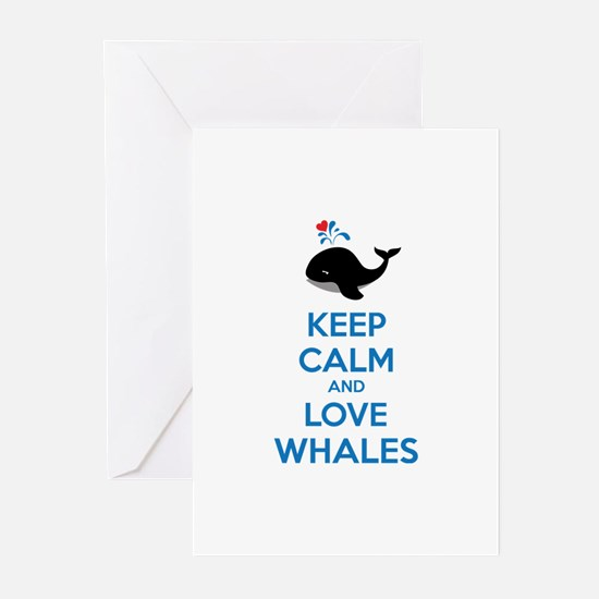 Keep calm and love whales Greeting Cards (Pk of 10