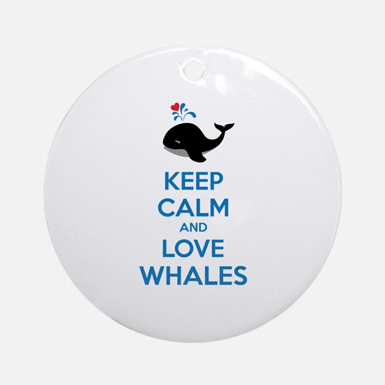Keep calm and love whales Ornament (Round)