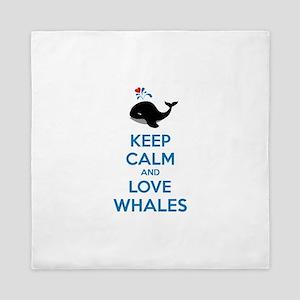 Keep calm and love whales Queen Duvet