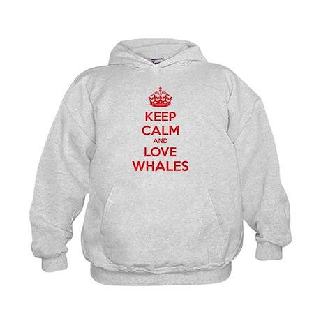 Keep calm and love whales Kids Hoodie
