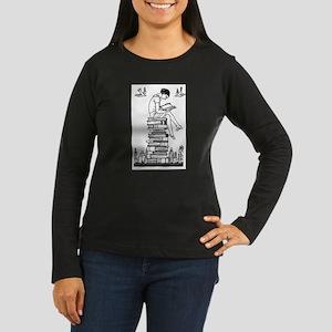 Girl reading atop books Long Sleeve T-Shirt
