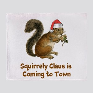 Squirrely claus Throw Blanket