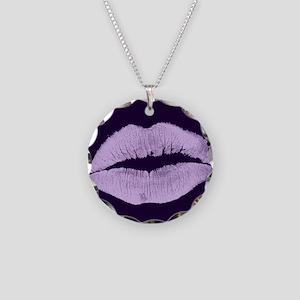 Purple Kisses Necklace Circle Charm