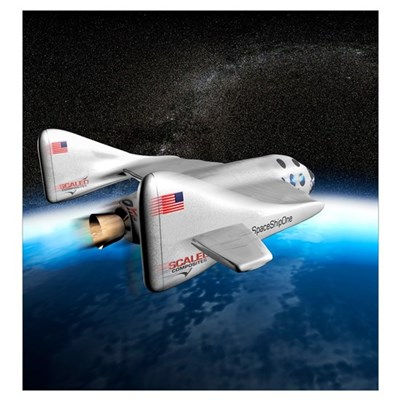 SpaceShipOne above Earth Poster