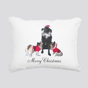 Dog Santa and Elves Rectangular Canvas Pillow