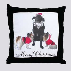 Dog Santa and Elves Throw Pillow