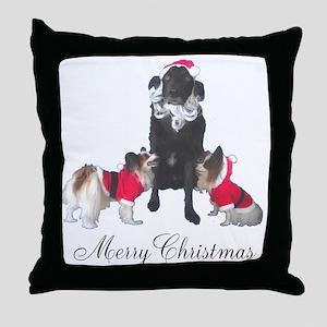 Dog Santa and Elves Throw Pillow