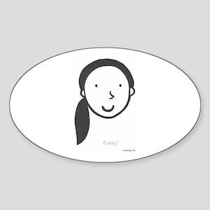 Cindy Logo (black) Oval Sticker