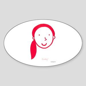 Cindy Logo (red) Oval Sticker