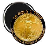 Gold Liberty w Motto on black 2.25