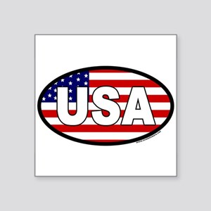 USA Flag Oval Sticker with USA letters in white. S