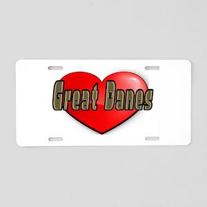 LOVE GREAT DANES Aluminum License Plate