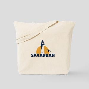 Savannah Beach GA - Lighthouse Design. Tote Bag