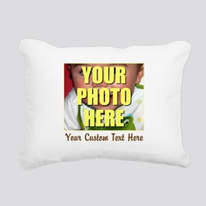 Custom Photo and Text Rectangular Canvas Pillow