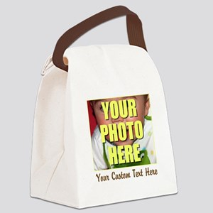 Custom Photo and Text Canvas Lunch Bag