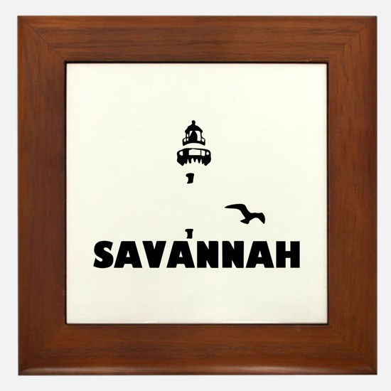 Savannah Beach GA - Lighthouse Design. Framed Tile