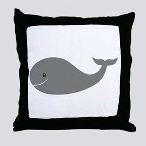 Happy Grey Whale Throw Pillow