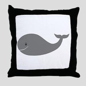 Happy Grey Whale Throw Pillow