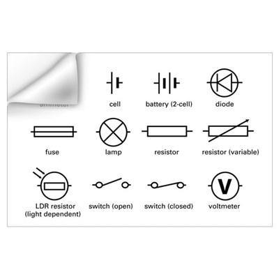 Standard electrical circuit symbols Wall Decal