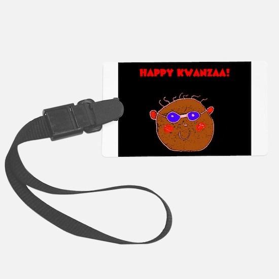 Kwanzaa Smiling Man Glasses Designer Luggage Tag