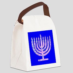 Blue Menorah Hanukkah 47 Designer Canvas Lunch Bag