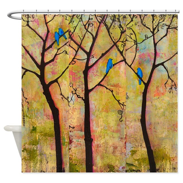 Bluebirds In Trees Shower Curtain By BlendaStudio