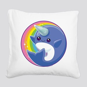 Kawaii Narwhal Square Canvas Pillow