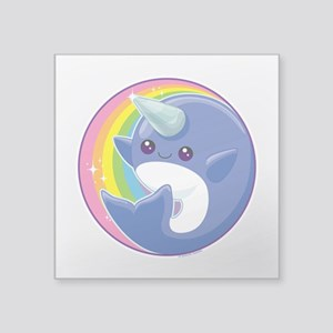 "Kawaii Narwhal Square Sticker 3"" x 3"""