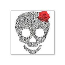 Skull and a rose Square Sticker 3