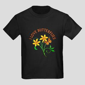 I Love Butterflies Kids Dark T-Shirt