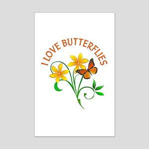 I Love Butterflies Mini Poster Print