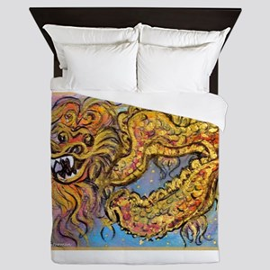 dragon, colorful Asian art, Queen Duvet