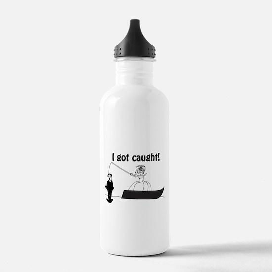 I Got Caught Groom Fishing Sports Water Bottle