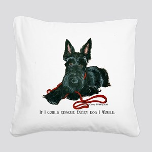 Scottish Terrier Rescue Me Square Canvas Pillow