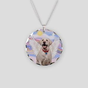 Yellow Labrador Angel Necklace Circle Charm