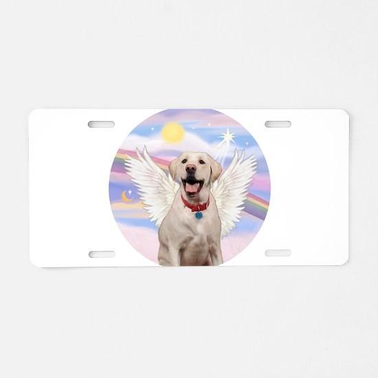 Yellow Labrador Angel Aluminum License Plate