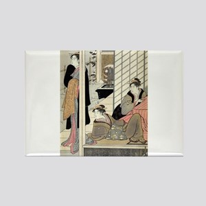 Viewing a snow covered garden - Kiyonaga Torii - 1