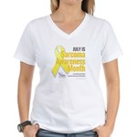 July is Sarcoma Awareness Month-white Women's V-Ne