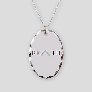Yoga Breathe 2 Necklace Oval Charm