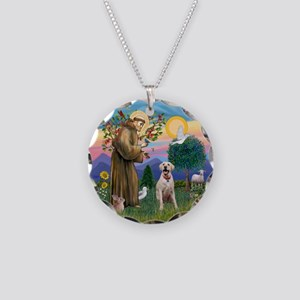 StFrancis-YellowLab (Bz) Necklace Circle Charm