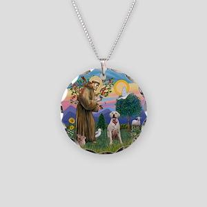 StFrancis-YellowLab (Bz) Necklace Circle Charm