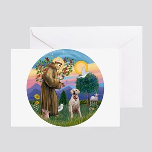 StFrancis-YellowLab (Bz) Greeting Card
