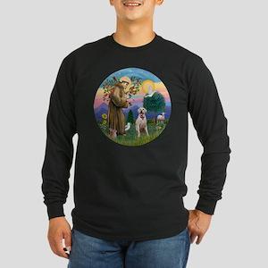 StFrancis-YellowLab (Bz) Long Sleeve Dark T-Shirt