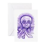 Purple Singing Skull Greeting Cards (Pk of 10)