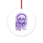 Purple Singing Skull Ornament (Round)