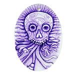 Purple Singing Skull Ornament (Oval)