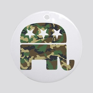 Republican Camo Elephant Ornament (Round)