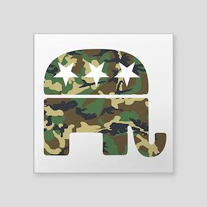 """Republican Camo Elephant Square Sticker 3"""" x 3"""