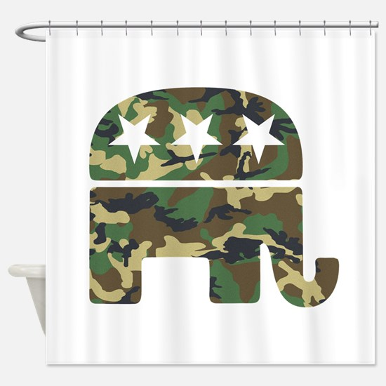 Republican Camo Elephant.png Shower Curtain