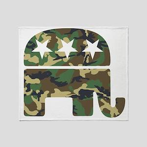 Republican Camo Elephant Throw Blanket